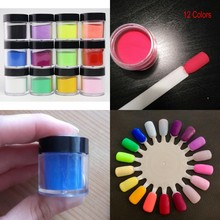 10grs/Box Acrylic Powder Nail Art Acrylic Glitter Powder (12Colors) Nail Decorations For NAIL ART UV Gel Acrylic Powder Dust D20 цена в Москве и Питере