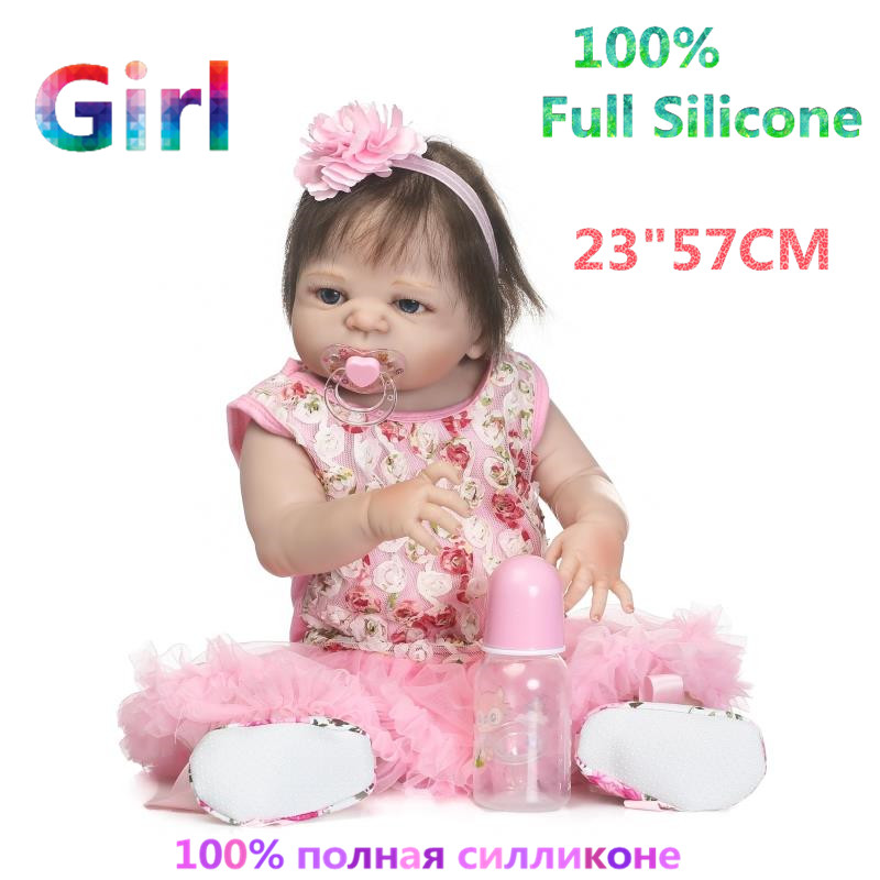 High Realistic 23 Newest Doll Reborn Full Silicone Brinquedo Baby Dolls Alive Menina Bonecas Girl Reborn Doll RB16-04H10 christmas gifts in europe and america early education full body silicone doll reborn babies brinquedo lifelike rb16 11h10