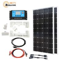 Boguang 200w solar system kit 2*100w solar panel cell ABS photovoltaic module Mounting brackets 20A controller cable yacht RV