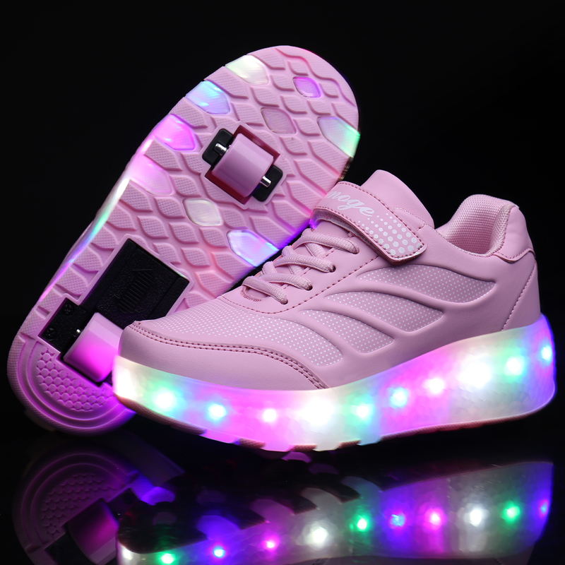 Two Wheels Luminous Sneakers Blue Pink Led Light Roller Skate Shoes for Children Kids Led Shoes Boys Girls Shoes Light Up Unisex