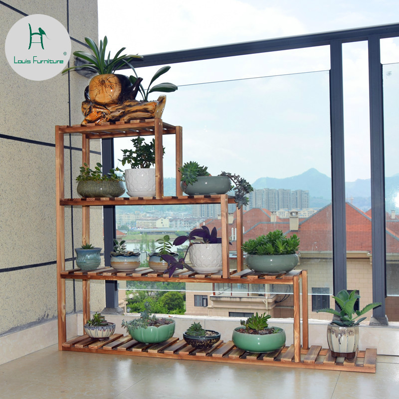 Us 62 9 Louis Fashion Plant Shelves Windowsill Flower Rack Solid Wood Multi Y Balcony Living Room Indoor In From Furniture On