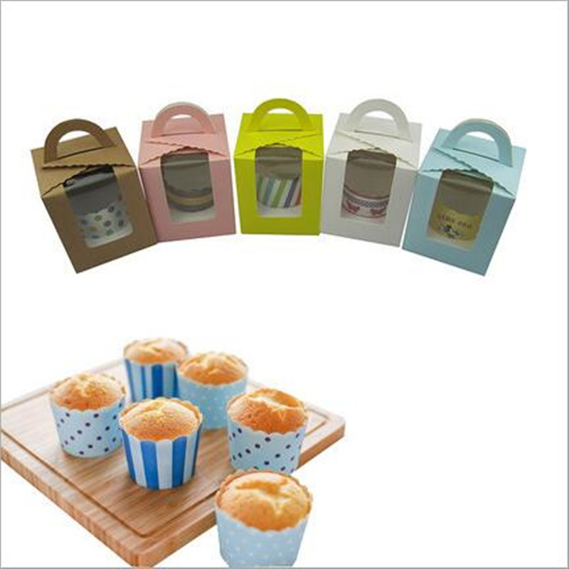 10pcs/lot Single Cupcake Cake Case Wedding Party Favor Muffin Pod Dome Holder Boxes with Handle and PVC Window