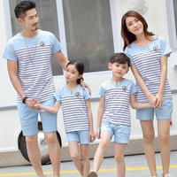 Family Set 2017 Father And Son Clothes Fashion Mother Daughter Cotton Family Clothing Stripe Sports Suit