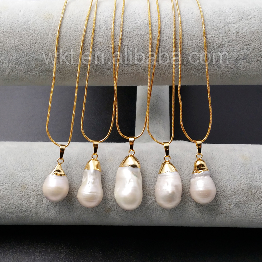 WT N912 Wholesale Natural Freshwater Pearls Pendant with Gold Color Necklace Design Water drop shape Pearl