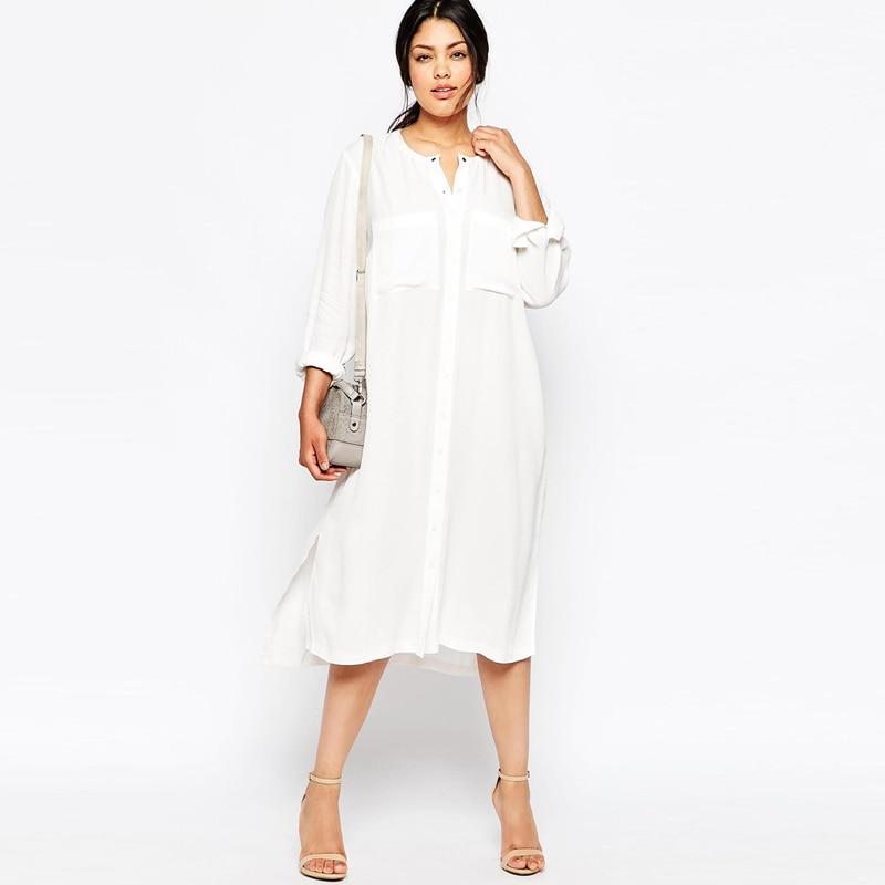 2016 Elegant Office Chiffon Shirt White Dress Vintage Maxi Dresses Women Plus Size Long Sleeve Autumn Robe Femme 4xl 5xl 6xl 7xl In From S