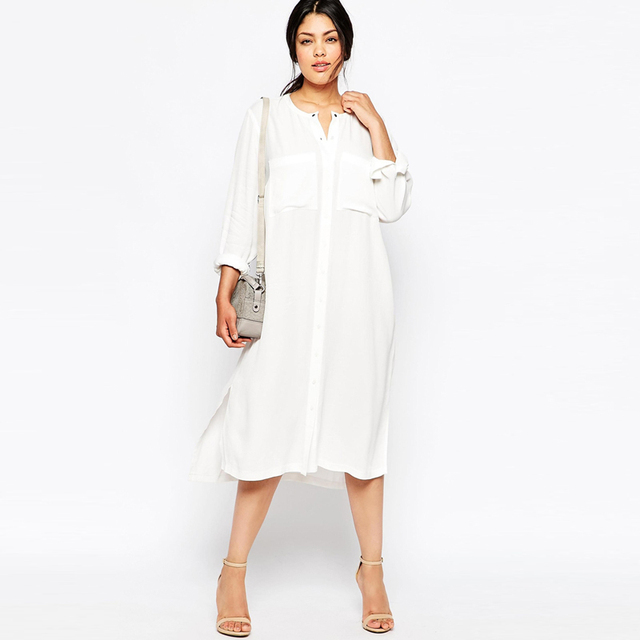 1d0b4b61ce 2016 Elegant Office Chiffon Shirt White Dress Vintage Maxi Dresses Women  Plus Size Long Sleeve Autumn