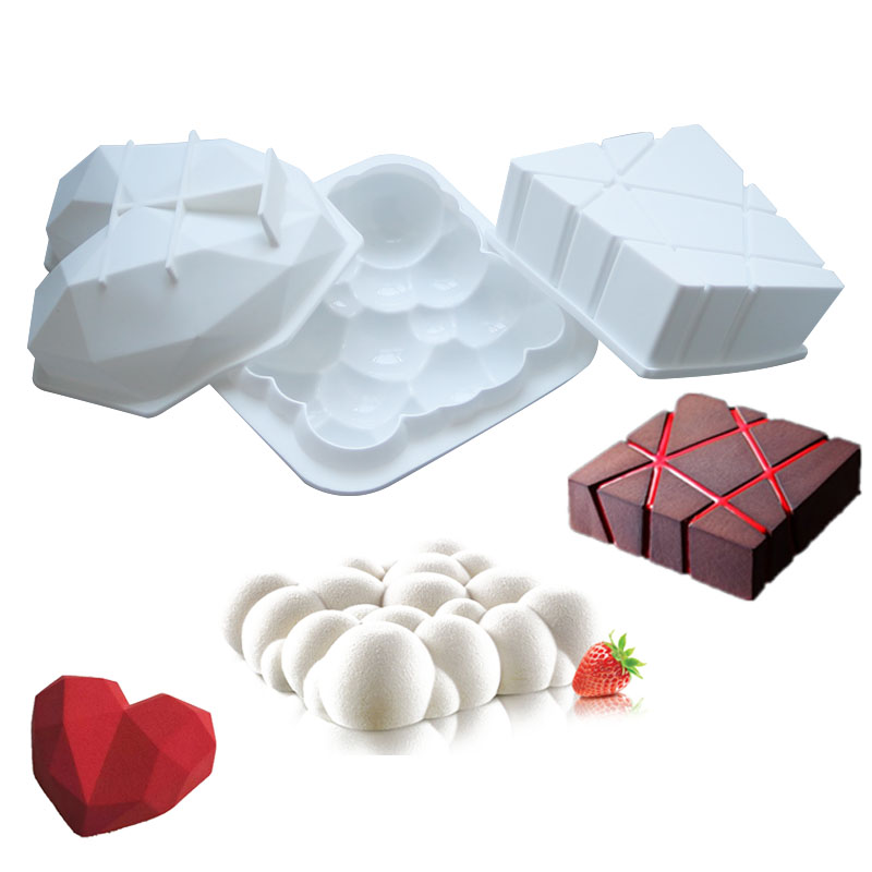 3D Art Cake Mould Pan Silicone Mold Mousse Birthday Cake Baking Pans Handmade Heart Shape Pans DIY Baking Tools dekok square cake pan