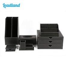 Роскошный офисный Настольный набор из 6 предметов, держатель для карандашей, липкий держатель для заметок, канцелярский органайзер, коробка, диспенсер для салфеток T05, черный/коричневый