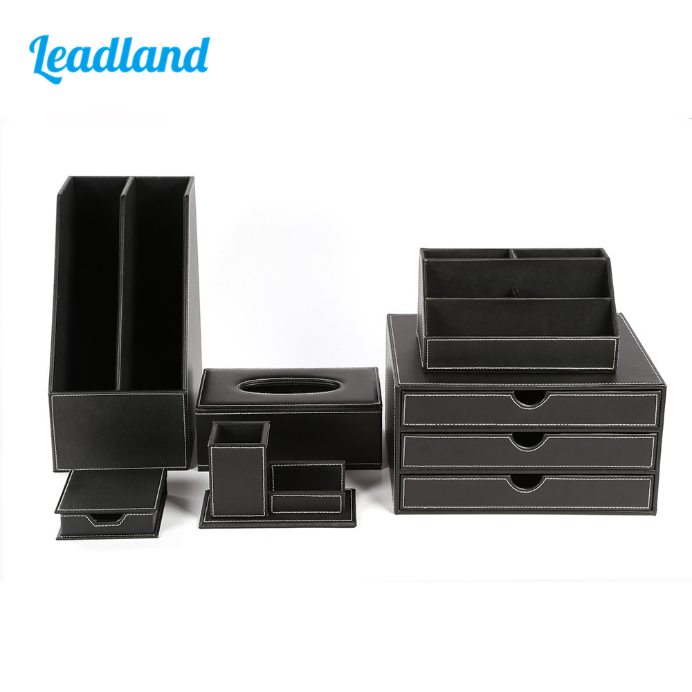Deluxe Office Desktop 6-Piece Set Pen Pencil Holder Sticky Note Holder Stationery Organizer Box Tissue dispenser T05 Black/Brown quality office desk 5 piece set pen pencil holder business card stand stationery organizer box tissue dispenser t09 black brown