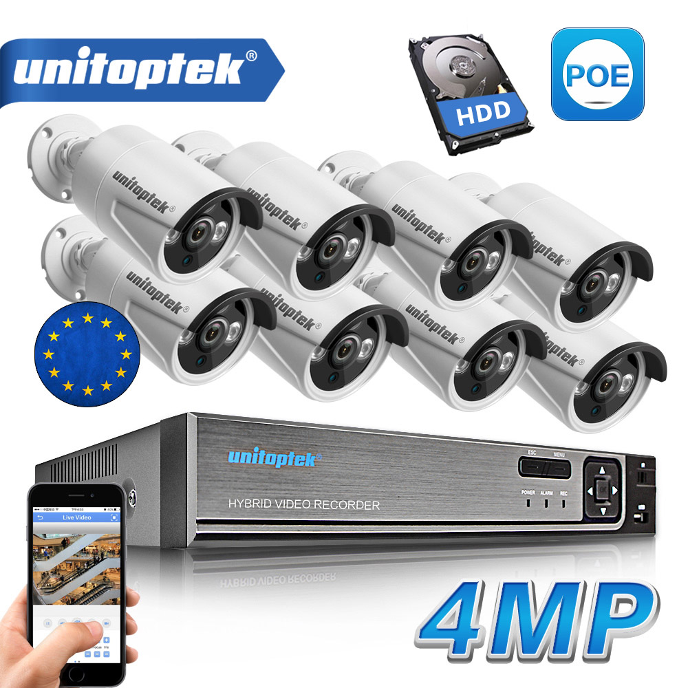 8Pcs 4.0MP HD IP Camera Outdoor Waterproof 8CH H.265 POE Security Camera NVR CCTV System P2P Day/Night View Surveillance Kit