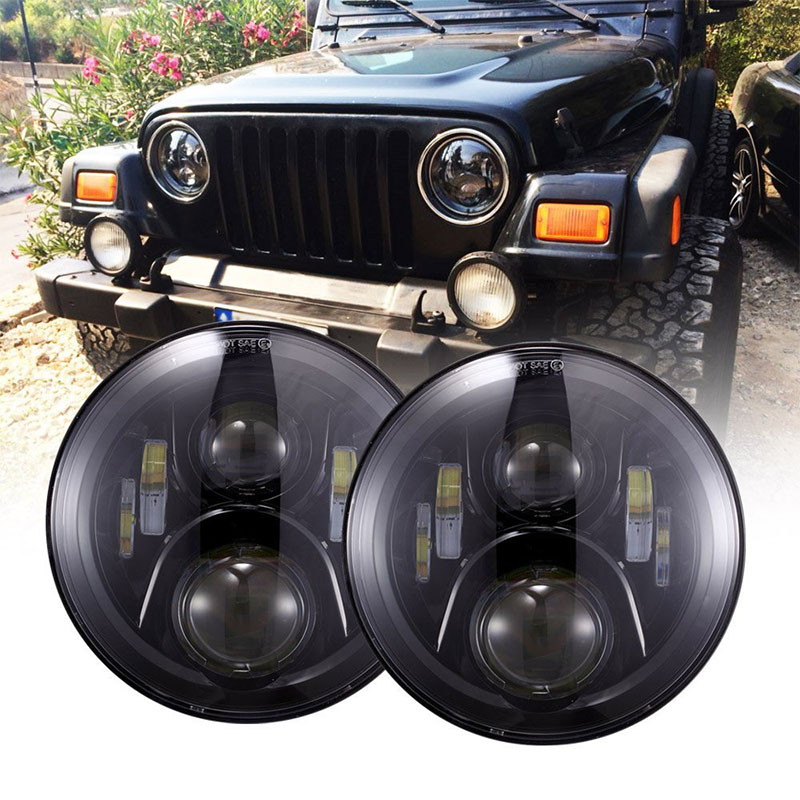 50W Hi Lo Dual beam 7 Inch Round LED Headlights Bulb Lamp For Jeep Wrangler JK