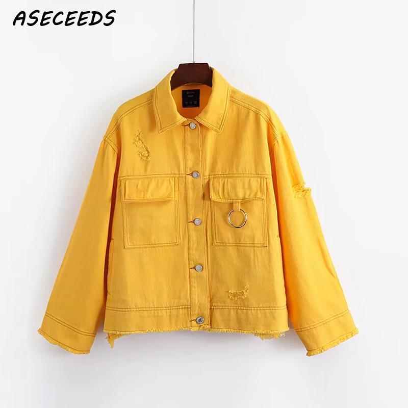 Autumn Yellow Red Ripped Denim Jacket Women Streetwear Fashion Ring