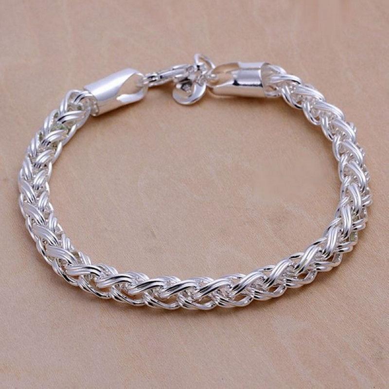 Lostpiece Fashion Men\'s 925 Sterling Silver Bracelets Wheat Chain ...