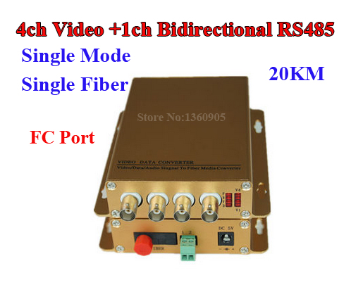 Video Data Fiber Optical Converter 4 Channel Analog  + 1ch bidirectional RS485 Data transceiver For CCTV Alarm Control 20KM FC rs232 to rs485 converter with optical isolation passive interface protection