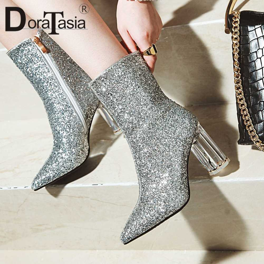 DoraTasia Fashion Classic Autumn Winter Boots Female Pointed Toe High Heels  Zip Sequined Color Ankle Boots febf0c90bef3