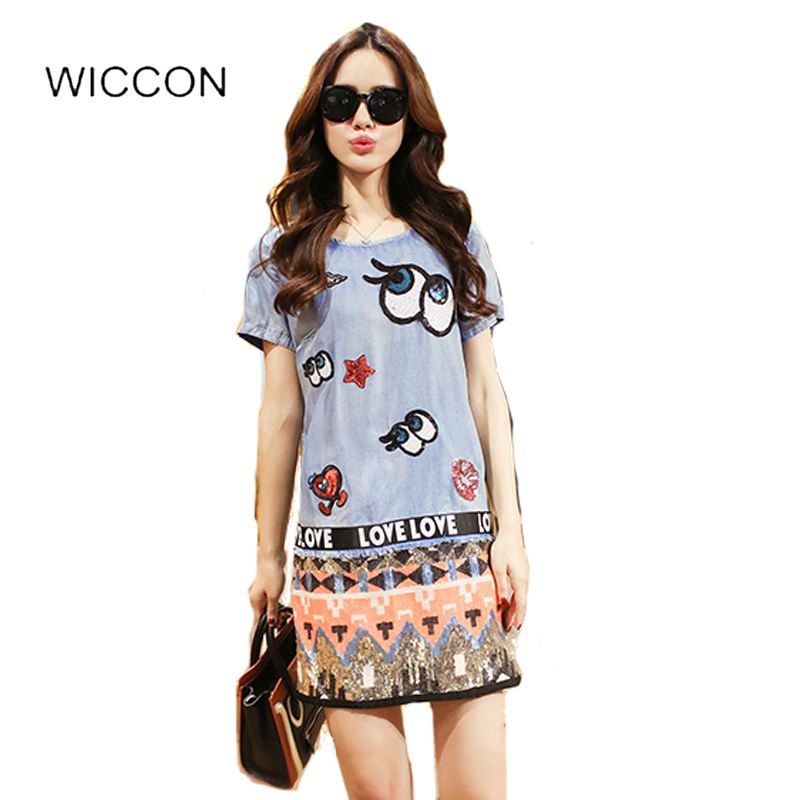 Buy Cheap Summer Dresses For Women Casual O Neck Straight Jeans Dress Cartoon Design Denim Pattern Short Sleeve Shirt Dresses Femme WICCON