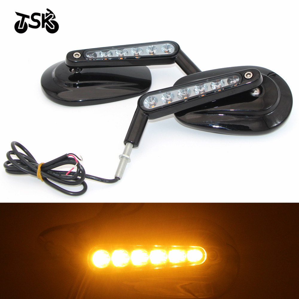 Chrome Motorcycle Mirror Muscle LED Turn Signals Light Moto Rear side View mirrors case for Harley