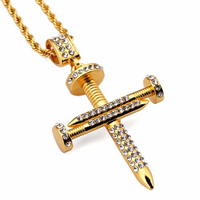 XS926 Nail Cross Pendants Necklaces Gold Plated Bling Rock Jewelry Gifts Men Women Hip Hop Stainless