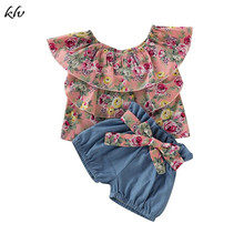 2019 Summer Newborn Baby Girls Clothes Floral Print Off-Shoulder Tops T-Shirt + Shorts Pants Outfits 2018 newborn toddler kids baby girls 3d rose floral off shoulder t shirt tops denim raw hem hot shorts outfits clothes 2pcs set