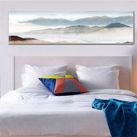 YongHe Home Decorative Canvas Printing Chinese Landscape Art Work Long Poster Watercolor Painting For Decorate Living Room