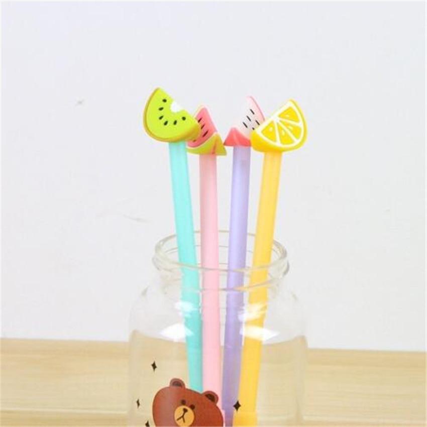 48 pcs Gel Pens Creative Fruit black colored kawaii gift gel-ink pens pens for writing Cute stationery office school supplies