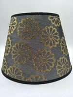 E27 lamp shade for table lamp bedroom lamp shade round black print fabric lamp shade
