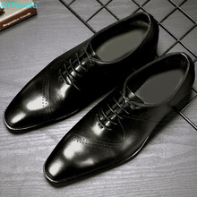 QYFCIOUFU 2019 Handmade Brand Designer wedding shoes men Fashion formal genuine leather Style Mens Oxford Dress Shoes