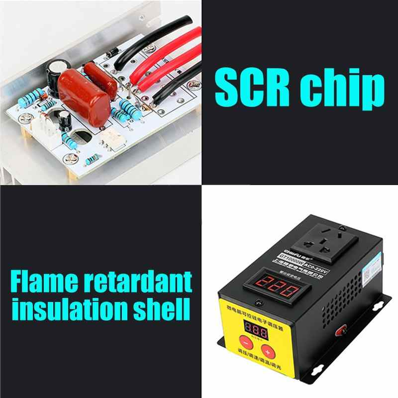 AC 0-220V 10000W SCR Electronic Voltage Regulator  LED Display Temperature Speed Adjust Controller Dimming Dimmer Thermostat