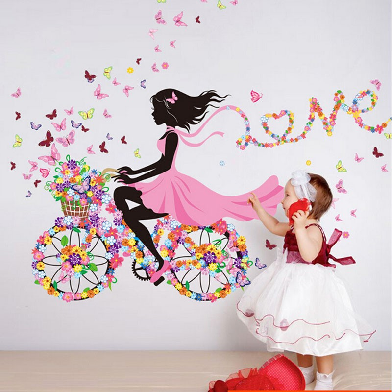 product Personality Fairies Girl Butterfly Flowers Art Decal Wall Stickers For Home Decor DIY Mural Kids Rooms Wall Decoration
