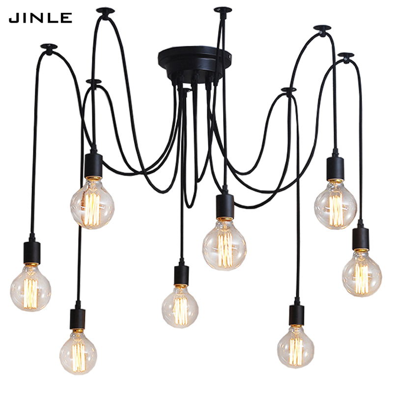 Industrial Vintage pendant lights retro lamp loft for coffee decoration DIY E27 lamp holder Adjustable dining room Fixture Light vintage industrial loft pendant lights fixture hemp rope retro e27 holder wicker pendant lighting for dining room diy lamp