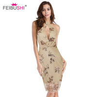 FEIBUSHI Halter Sleeveless Sequin Sexy Dresses Women 2018 Sexy Gold Open Back Geometric Graphic Sequins Bodycon