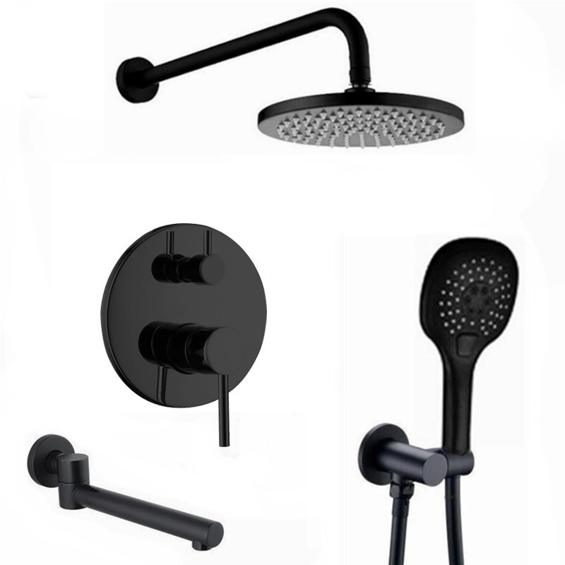 3 ways water out Brass Black Bath Shower Faucets 8 16 Rain Shower Head Bathroom Shower Set Diverter Mixer Valve Shower IS990