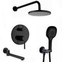 3 ways water out Brass Black Bath Shower Faucets 8 16 Rain Shower Head Bathroom Shower Set Diverter Mixer Valve Shower IS990