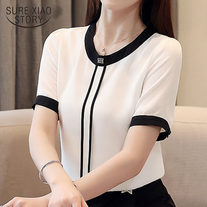 Womens tops and   blouses   2019 blusas Short sleeve office ladies tops white   blouse     shirt   women chiffon   blouse   women   shirts   3899 50