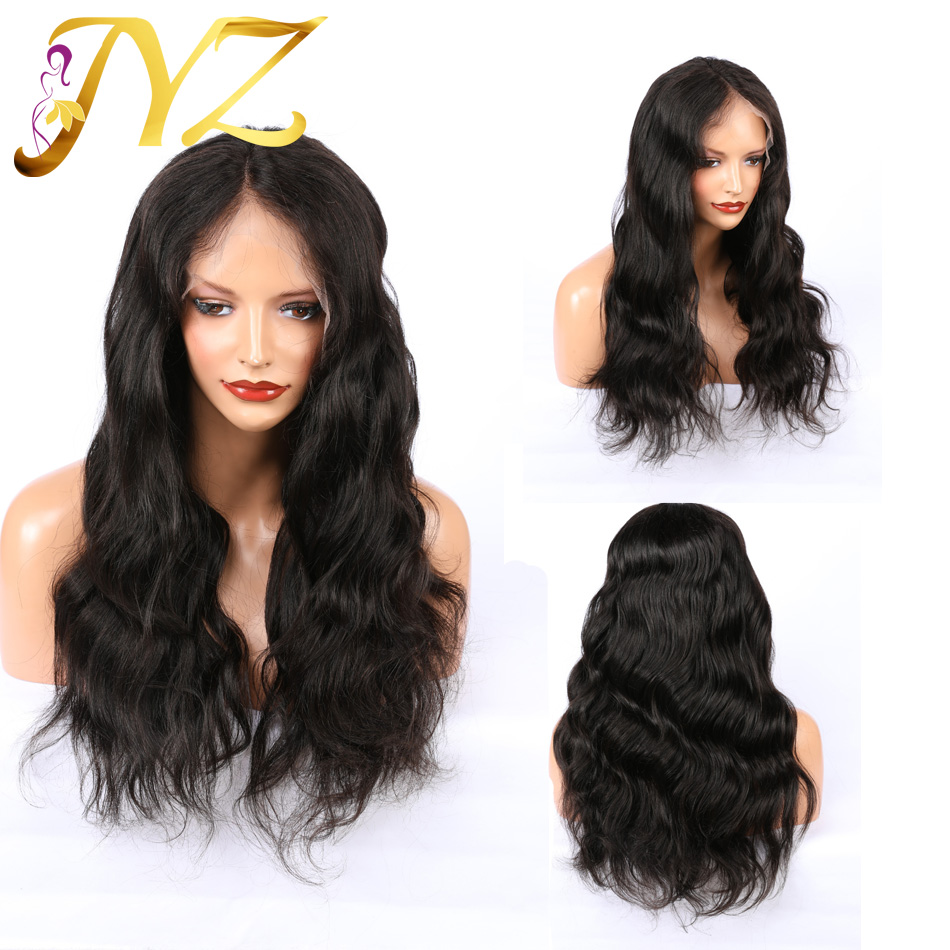 JYZ 150% Density Remy 360 Lace Frontal Wig With Baby Hair Brazilian Straight Lace Frontal Human Hair Wigs For Women Black image