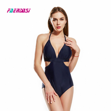 ФОТО faerdasi women plus size swimsuit nave blue black bandage bathing suit high cut swimwear bandeau beachwear solid padded bodysuit