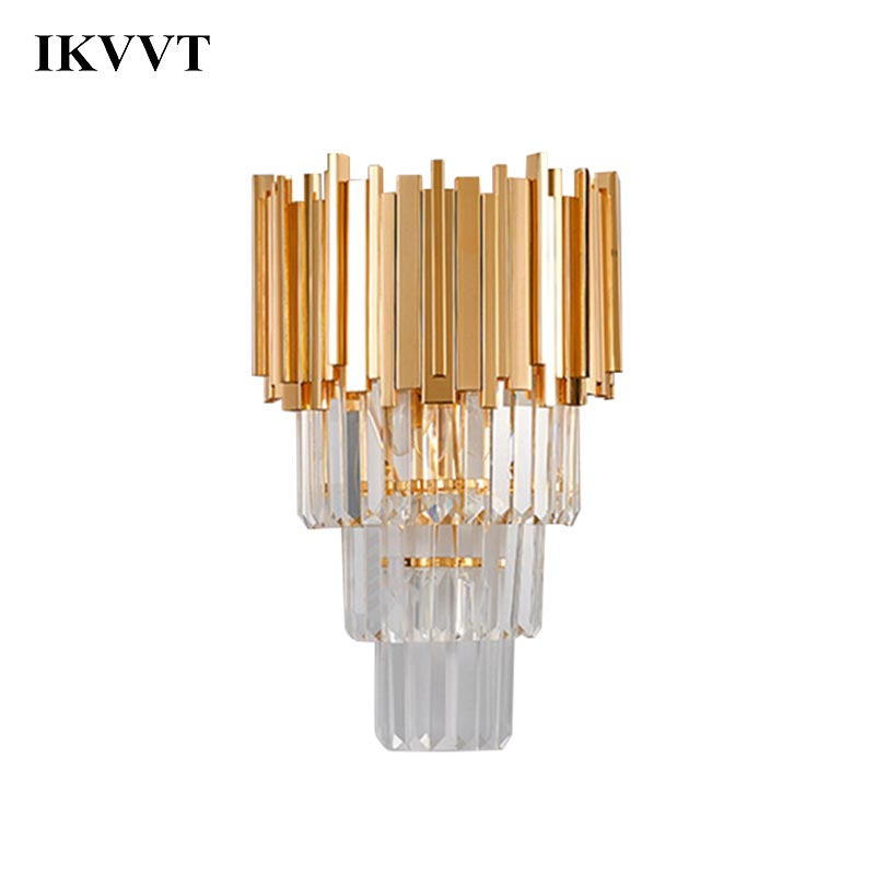 IKVVT Modern Luxury Golden Crystal Wall Lamps TV Background Wall Decor Lamp For Living Room Bedroom LED Aisle Lights|LED Indoor Wall Lamps| |  - title=
