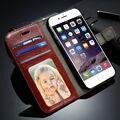 Para iphone 7 6 6 s plus case covers luxo telefone carteira de couro sacos de coque para iphone 7 slot para cartão tampa do suporte flip magnético shell