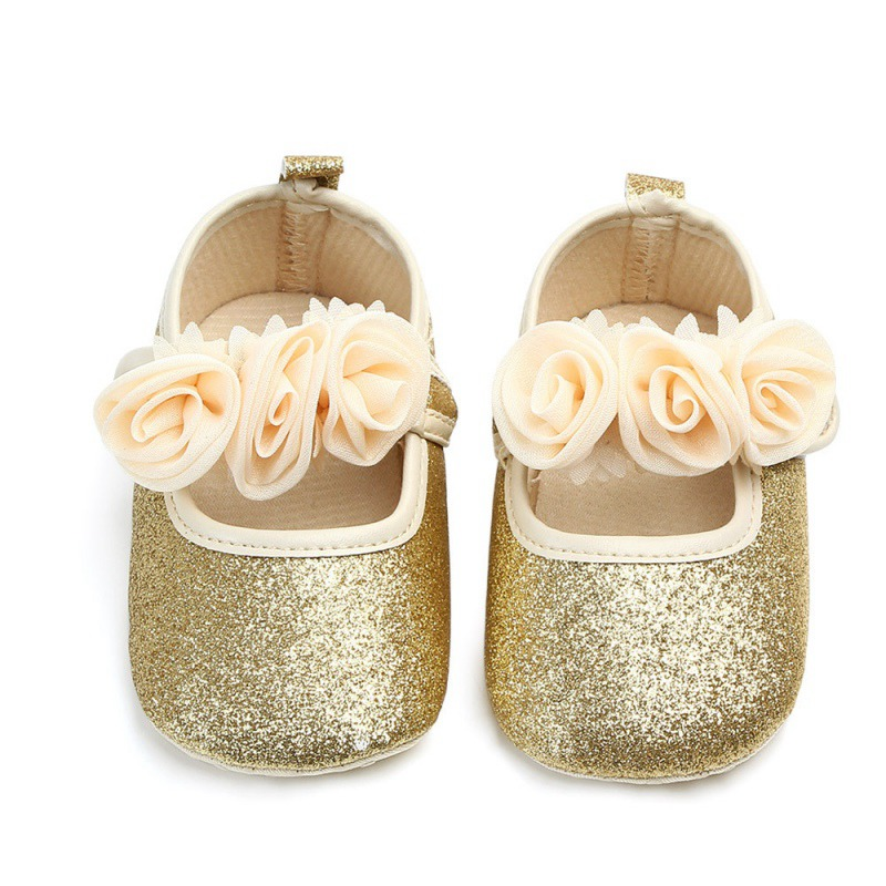 Flower Bling Baby Girl Shoes Autumn Newborn Baby Shoes Flowers Soft Bottom First Walker Wedding Birthday Princess Shoes