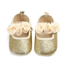 b6a3a8739 Zapatos de flores brillantes para bebé niña otoño zapatos de bebé recién  nacido flores Fondo suave primer andador boda cumpleaño.