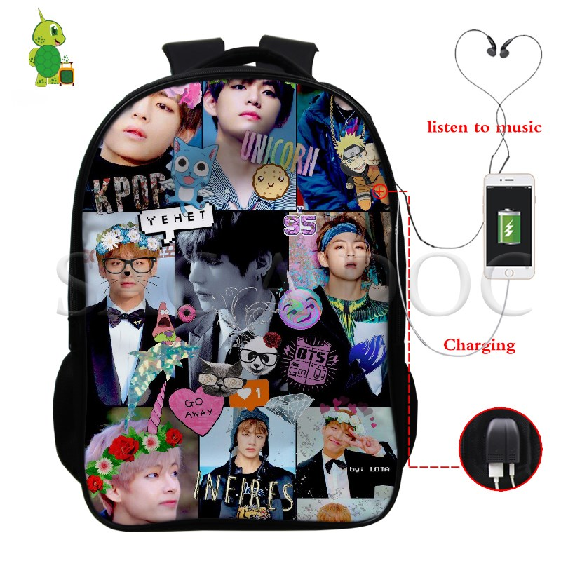 Backpacks Ambitious Bts Love Yourself Anime Multifunction Backpack Usb Charge Laptop Backpack For Teenage Girls Boys V/jungkook School Travel Bags Sufficient Supply