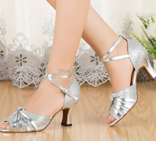 New Free Shipping Silver Glitter  Ballroom Latin Samba Salsa Ceroc Tango Dance Shoes All Size