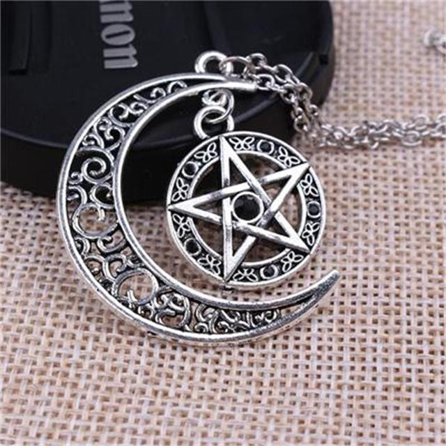 New Supernatural Necklace Witch Protection Crescent Moon Knot Pentagram Supernatural Amulet Necklace Pendant