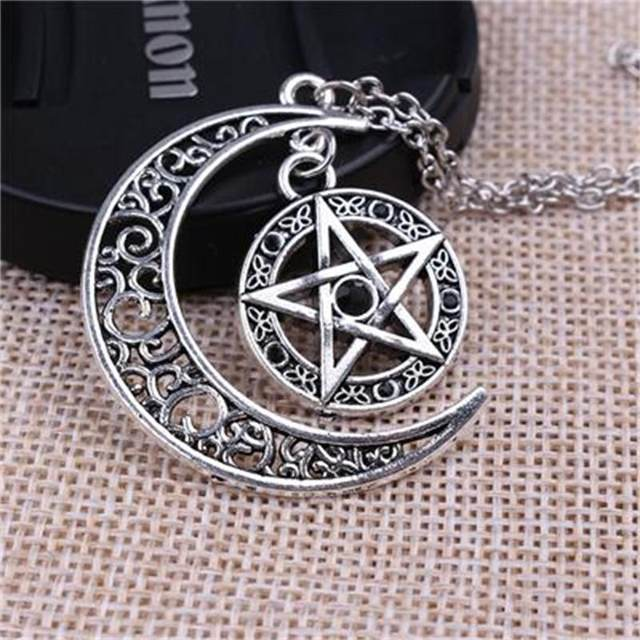 Online shop new supernatural necklace witch protection crescent moon new supernatural necklace witch protection crescent moon knot pentagram supernatural amulet necklace pendant aloadofball Gallery