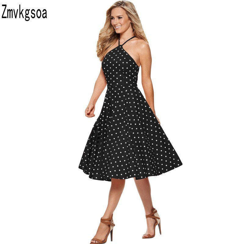 Zmvkgsoa Polka Dot Dress Women Swing Halter 50s 60s Rockabilly Prom Party Vintage Dresses Retro Feminino
