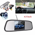 LED Night Vision Car Rearview Reversing Camera Parking Backup Monitor System + 4.3 Inch Color TFT LCD Car Monitor