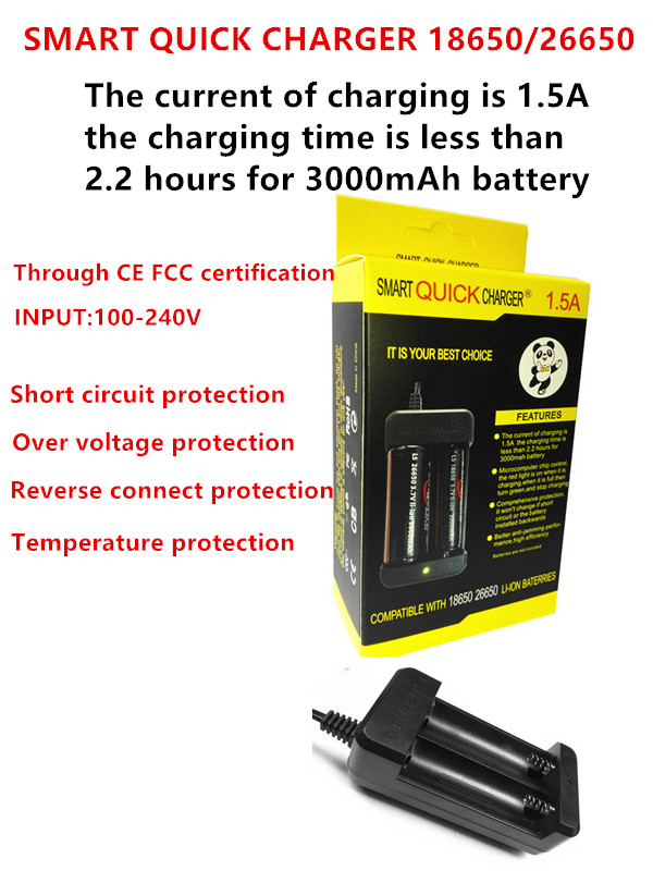 New Arrival 2 Slots 18650 Li-ion Travel Battery smart quick charger for 18650 26650 Rechargeable Batteries with EU/US plug