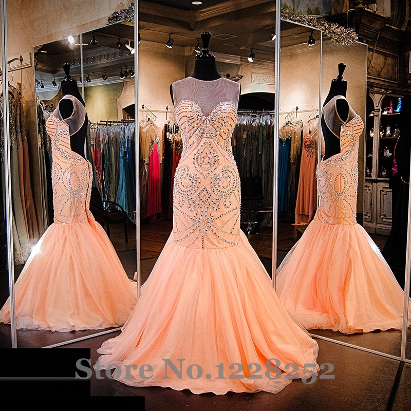 Gorgeous Coral Mermaid Prom Dresses Illusion Sweetheart