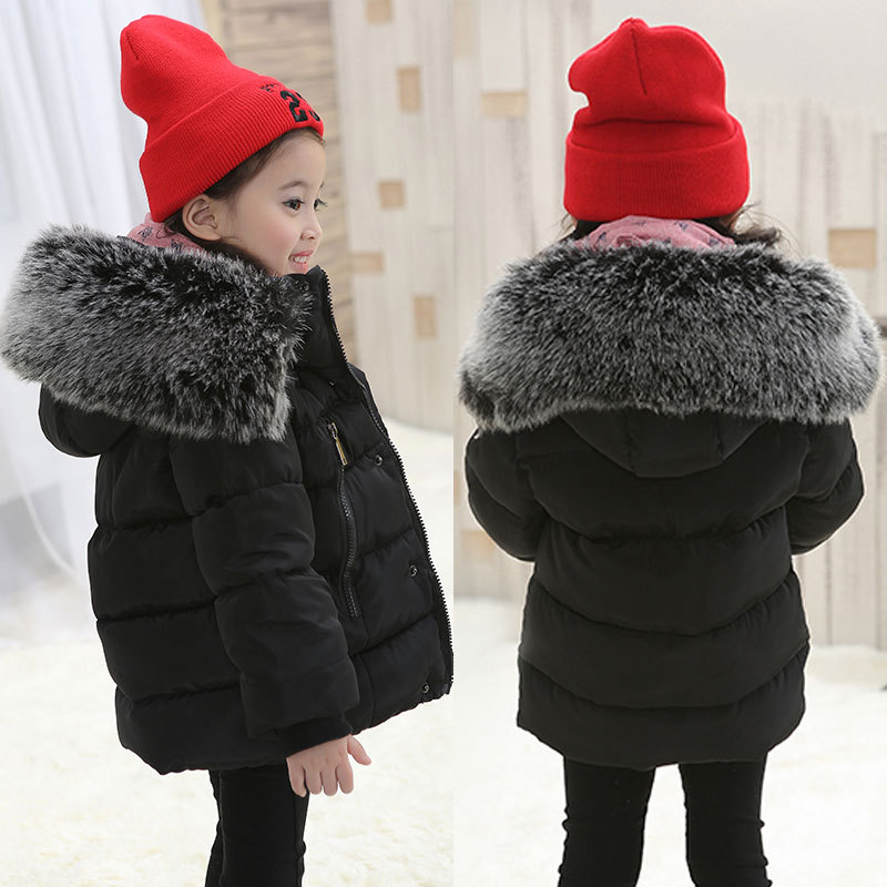 New winter children outerwear & coats fashion warm baby boys girls down & parkas 1Y-6Y black red Thicken hooded jackets for baby 2017 new winter sytle children clothing fashion cartoon print girls down & parkas 1 6y hooded children jackets coats for girls
