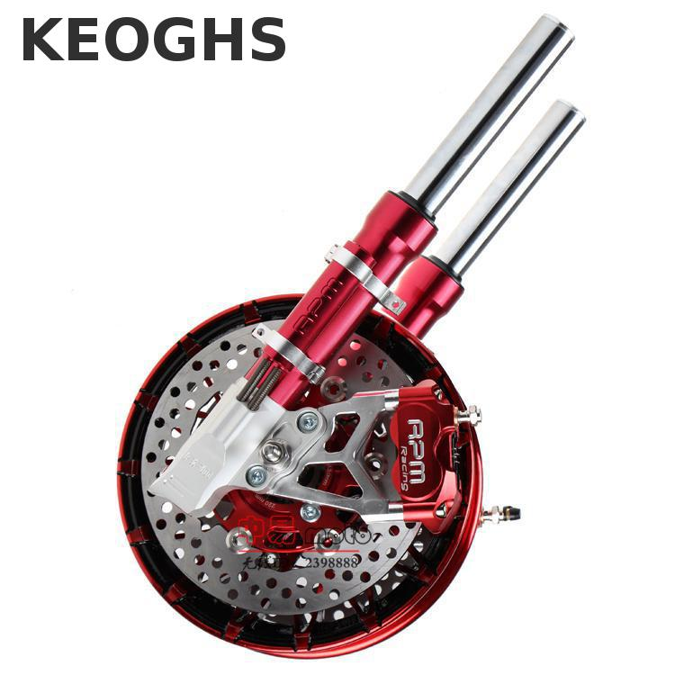 Keoghs Motorcycle Front Shock Absorber And Double Twin Brake System For Yamaha Scooter Rsz Jog Force Bws Cygnus Ttx Modify keoghs motorcycle hydraulic brake system 4 piston 100mm hf2 brake caliper 260mm brake disc for yamaha scooter cygnus x modify